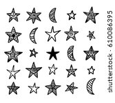 hand drawn star and moon... | Shutterstock . vector #610086395
