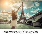 woman tourist selfie near the...   Shutterstock . vector #610089755