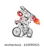 astronaut futuristic bicycle... | Shutterstock .eps vector #610090421