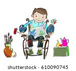 happy smiling boy in the wheel... | Shutterstock .eps vector #610090745