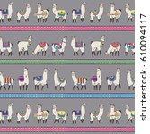 lama animal vector striped... | Shutterstock .eps vector #610094117