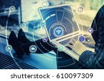 laptop pc and internet of... | Shutterstock . vector #610097309