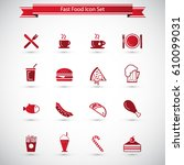 food icons   fast food icon set | Shutterstock .eps vector #610099031
