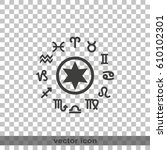 circle with signs of zodiac. | Shutterstock .eps vector #610102301