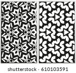 vector monochrome seamless... | Shutterstock .eps vector #610103591