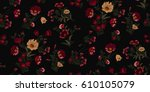 seamless floral pattern in... | Shutterstock .eps vector #610105079