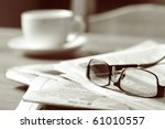 Newspapers And Coffee Cup  Wit...