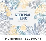 rectangular card template with... | Shutterstock .eps vector #610109345