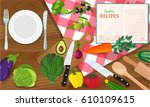 plate knife and fork on a red... | Shutterstock . vector #610109615