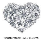 floral heart. bouquet... | Shutterstock .eps vector #610110395