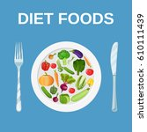diet food. dieting and... | Shutterstock .eps vector #610111439