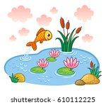 fish jumps into the pond....