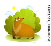 bear in wild nature. funny kids ... | Shutterstock .eps vector #610113551