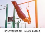 young athlete doing exercises...   Shutterstock . vector #610116815