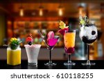 selection of cocktails drinks... | Shutterstock . vector #610118255