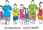 group of runners vector... | Shutterstock .eps vector #610118699