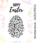 happy easter greeting card with ... | Shutterstock . vector #610119011