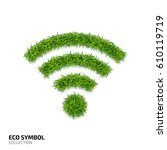 wi fi icon from green grass.... | Shutterstock .eps vector #610119719