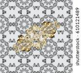 seamless pattern on gray... | Shutterstock .eps vector #610121489