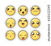set of cute lovely kawaii... | Shutterstock .eps vector #610122245