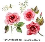 roses in watercolor | Shutterstock . vector #610122671
