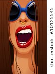 close up of sexy woman's face... | Shutterstock .eps vector #610125545