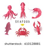seafood icons collection.... | Shutterstock .eps vector #610128881