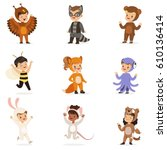 kinds in animal costume... | Shutterstock .eps vector #610136414
