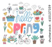 cute spring set with bunny  cat ... | Shutterstock .eps vector #610137359