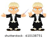 the young bandmaster conducts. | Shutterstock .eps vector #610138751