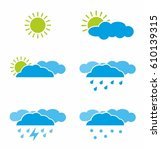 weather icon set  on white... | Shutterstock .eps vector #610139315