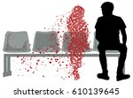 silhouette vector of sad young... | Shutterstock .eps vector #610139645
