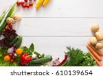 fresh vegetables on white wood... | Shutterstock . vector #610139654