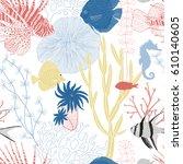 underwater graphic seamless... | Shutterstock .eps vector #610140605