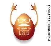 vector happy easter greeting... | Shutterstock .eps vector #610140971