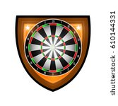 round dartboard in center of...   Shutterstock .eps vector #610144331