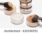 jars of loose cosmetic powder... | Shutterstock . vector #610146551