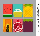 summer fruit  layout design... | Shutterstock .eps vector #610146914