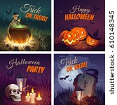 halloween banners with the... | Shutterstock .eps vector #610148345