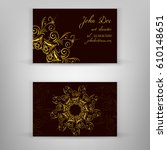 vintage business card with... | Shutterstock .eps vector #610148651