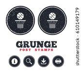 grunge post stamps. basketball...   Shutterstock .eps vector #610149179