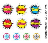 comic wow  oops  boom and wham... | Shutterstock .eps vector #610154495