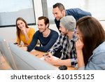 group of five young people... | Shutterstock . vector #610155125