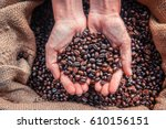 coffee beans background. coffee ... | Shutterstock . vector #610156151