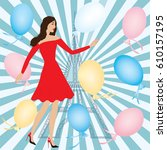 woman in red dress balloons...   Shutterstock .eps vector #610157195