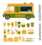 set of flat icons to the food... | Shutterstock .eps vector #610159349