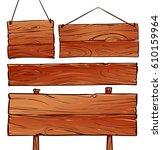 wooden signboard illustration | Shutterstock .eps vector #610159964