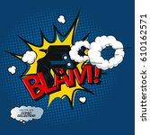 comic pistol shot print. text... | Shutterstock .eps vector #610162571