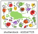 healthy food vegetables and... | Shutterstock . vector #610167725