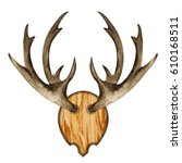 watercolor antlers on wooden... | Shutterstock . vector #610168511
